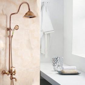 欧式金色玉石大体花洒套装全铜冷热淋浴喷头卫浴家用花