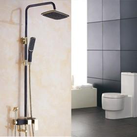 黑色 淋浴花灑套裝 沖涼全銅歐式大花灑浴室沐浴淋浴