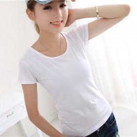 纯色短袖T恤女时尚百搭修身打底衫