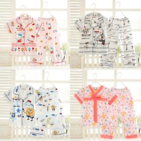蔓莉宝贝儿童睡衣夏男女童纯棉短袖宝宝家居服套装薄款