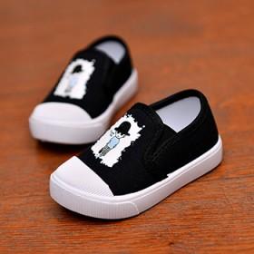 儿童豹纹帆布鞋夏季男韩版软底潮板鞋女透气学生小白鞋