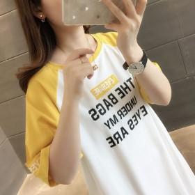 2019夏装超火短袖女新款百搭上衣女宽松中长款t恤