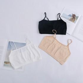 夏季牛奶丝短款吊带学生少女发育期小背心防走光打底内