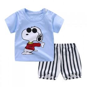 新款休闲时尚潮流男童短袖T恤裤子套装两件套