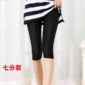 2019夏季冰丝光泽裤薄款女外穿修身打底裤黑色显瘦