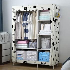 简易衣柜双人家用衣橱钢管加固组装时尚挂衣柜简约组合