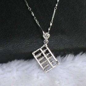 小算盘925纯银吊坠项链(算盘珠子会动)