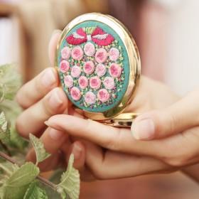 手工刺繡diy初學鏡子材料包歐式立體自己繡自制