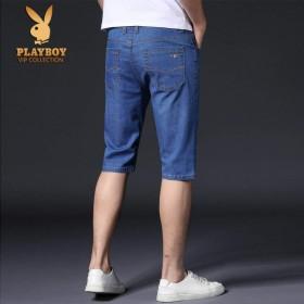 2条夏季薄款弹力宽松直筒牛仔短裤男商务大码休闲中裤