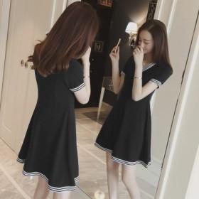 新款短袖休闲V领宽松连衣裙女夏显瘦大码修身中长