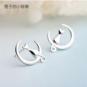 新品s925银耳钉时尚耳环日系甜美可爱月亮守护神小