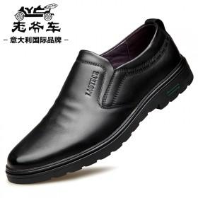 老爺車皮鞋男真皮頭層牛皮透氣軟底軟面皮休閑鞋