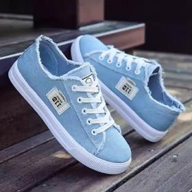 百搭bf风女鞋小白鞋高中学生平底深蓝色帆布鞋女20