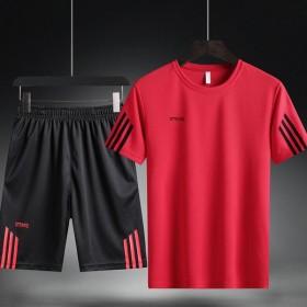 花花公子夏季速干短袖T恤五分裤套装男运动休闲圆领球