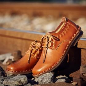 男士真皮英伦透气舒适防滑耐磨系带软面皮鞋
