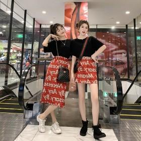 新款字母红格子半身裙子两件套短袖T恤套装女夏季