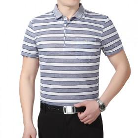花花公子男士短袖T恤夏季男装衣服翻领条纹半袖体恤中