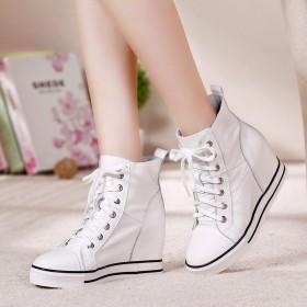 真皮女鞋秋冬新韩版系带高帮鞋坡跟休闲鞋内增高女鞋潮