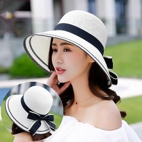 草帽女夏天韩版沙滩帽海边太阳帽防晒女士出游遮阳帽防