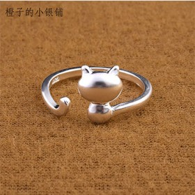 夏季款S925纯银戒指可爱猫咪开口戒指甜美萌系少女