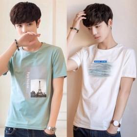 【两件装】男士短袖t恤大码夏季新款学生打底衫男潮流