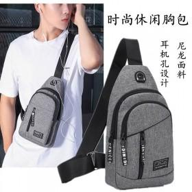 胸包男士背包尼龙帆布休闲运动旅游胸前包单肩斜挎包