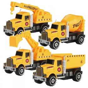 合金回力工程车挖掘机吊机水泥车儿童玩具口袋车挖掘机