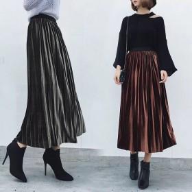 秋季半身裙女2019新款金丝绒中长款裙子