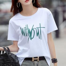 夏季新款韩版宽松显瘦印花短袖T恤女式百搭优质棉打底