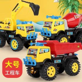 【两只装】儿童男孩工程车挖掘机翻斗车回力惯性玩具车