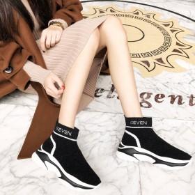 高街厚底老爹鞋女秋韩版新款平底板鞋袜子鞋女高帮