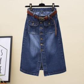 半身裙长款牛仔裙夏季新款复古一排扣开叉包臀A字裙子