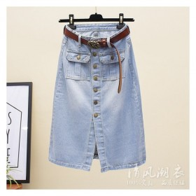 长款牛仔裙开叉包臀A字裙子夏季新款复古一排扣半身裙
