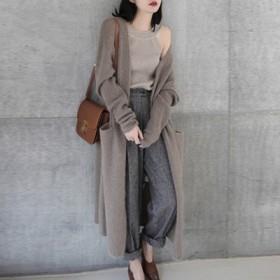 韩版网红长款羊毛衫加厚针织开衫休闲慵懒毛衣外套女