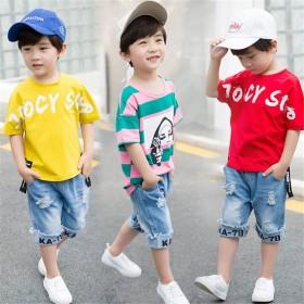 童装男童夏装套装两件套中大童夏季短袖纯棉T恤