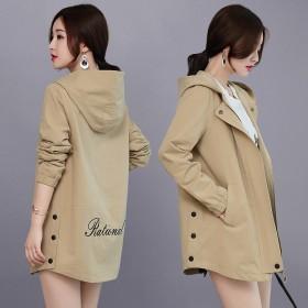 93棉/好质量小个子风衣女中长款休闲连帽短外套