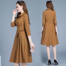 风衣女2019新款女装气质修身显瘦中长款外套