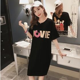 新款韩版卡通图案黑色连衣裙女装宽松中长款短袖T恤衫