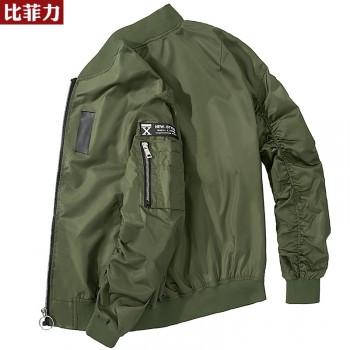 比菲力2019外套男春秋款棒球服韩版潮流男士军绿色