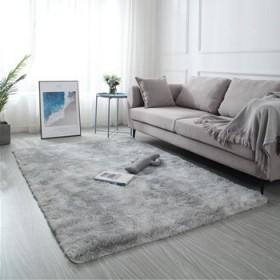 北欧ins网红长毛绒床边客厅茶几渐变卧室满铺地毯地