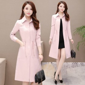 中長款女韓版風衣外套春季新款系帶收腰顯瘦大碼潮