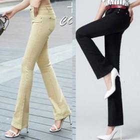2条牛仔裤女夏秋显瘦薄款九分喇叭裤新款直筒微喇长裤
