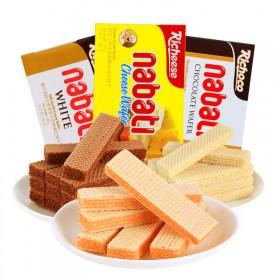 4盒印尼进口丽芝士纳宝帝奶酪味威化饼干整箱香草牛奶