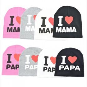 我爱妈妈 我爱爸爸帽子儿童帽子宝宝帽子小羊套头帽棉