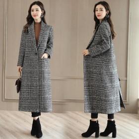 呢子大衣毛呢大衣中长款大码女装外套千鸟格