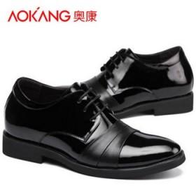 奥康真皮内增高鞋英伦商务正装皮鞋亮皮男鞋