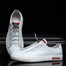 新款休闲皮鞋男士真皮板鞋韩版潮流时尚小白鞋