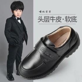 噜比贝贝童鞋 男童皮鞋真皮 学生表演鞋 新款儿童鞋