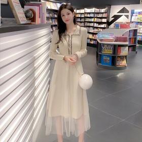 针织连衣裙女拼接网纱修身显瘦打底裙长袖A字裙子