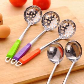 彩色手柄不锈钢汤勺厨房煲汤盛汤搅拌勺子可挂式漏勺火